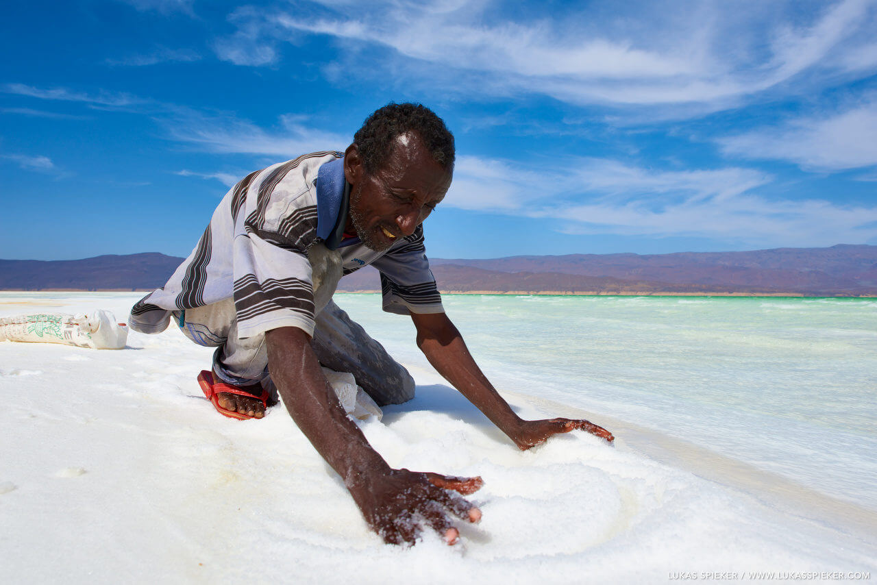 Salt miner in the Lake Assal
