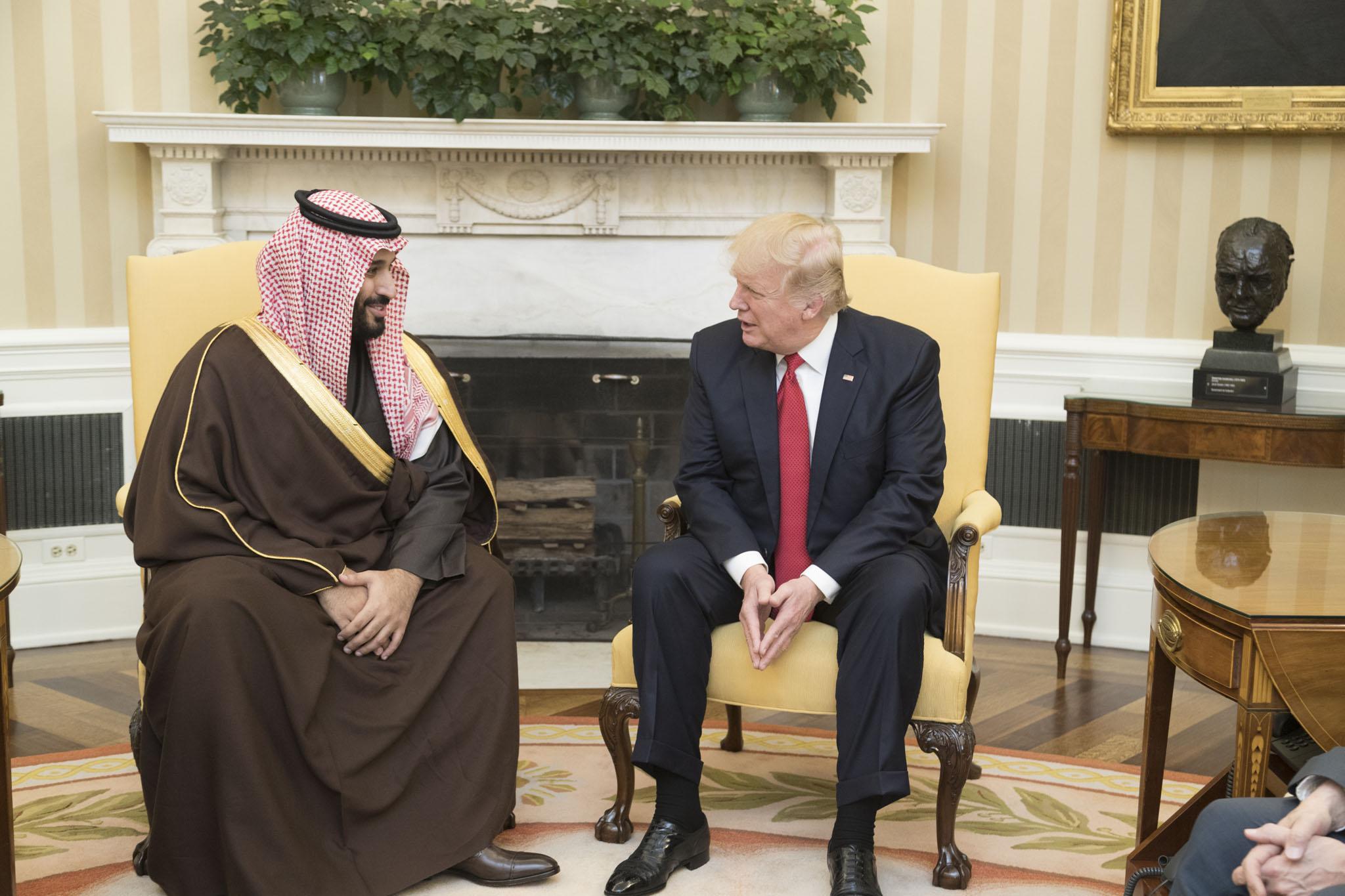 Le Prince héritier d'Arabie saoudite Mohammed ben Salmane en discussion avec le président américain Donald Trump le 14 mars 2017 à la Maison Blanche © The White House