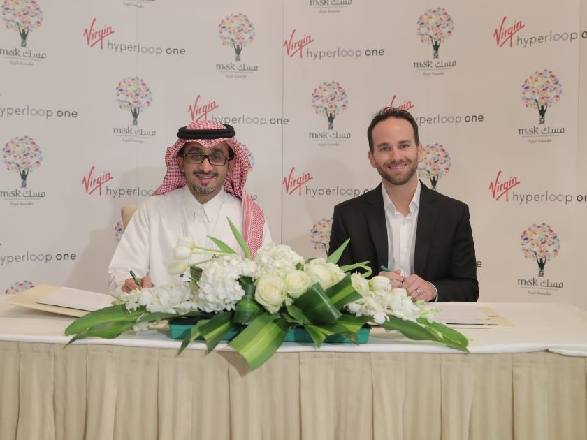 Josh Giegel, co-founder and CTO of Virgin Hyperloop One and Bader Al Asaker, MiSK Foundation's Secretary General
