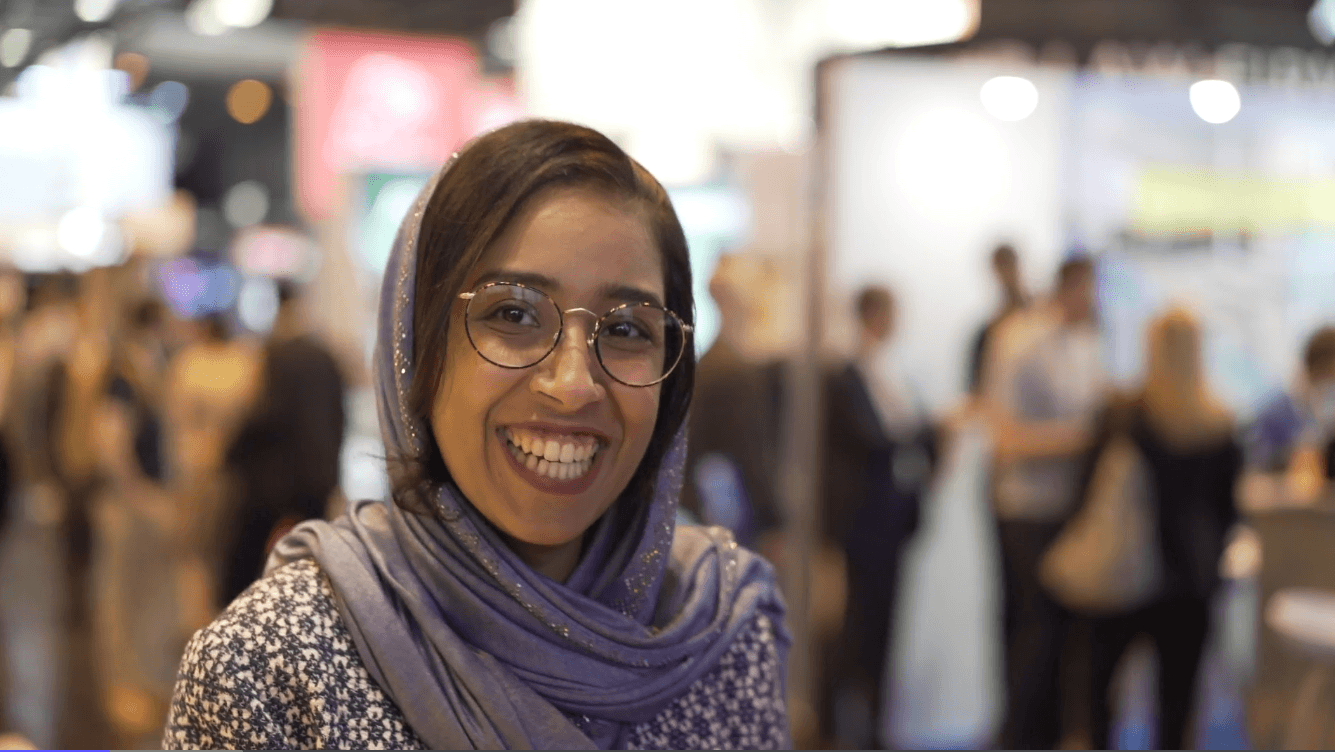 Manar Alomayri, overflowing with enthusiasm at the Viva Tech Show