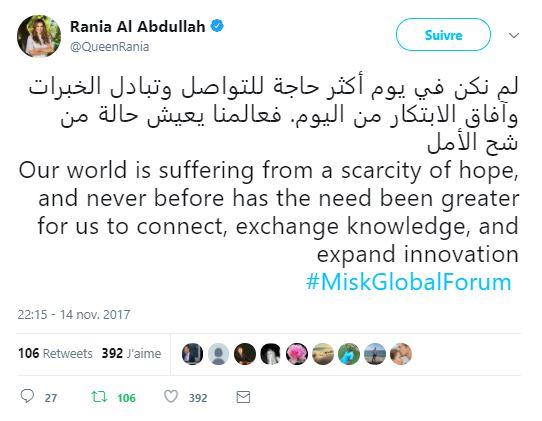 Tweet de la reine Rania de Jordanie, à l'occasion du MiSK Global Forum
