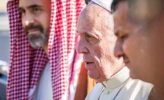 JERUSALEM - MAY 2014: Pope Francis visiting the Temple Mount and meeting the Muslim clerics and Catholic cardinals, Jordan's Prince Ghazi, chief adviser to the king for religious and cultural affairs © Roman Yanushevsky