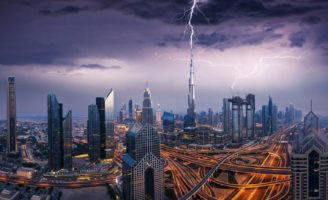 Burj Khalifa struck by lightning during a storm in Dubai