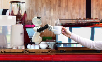 Robot hold hot coffee drinks to people work instead of man future