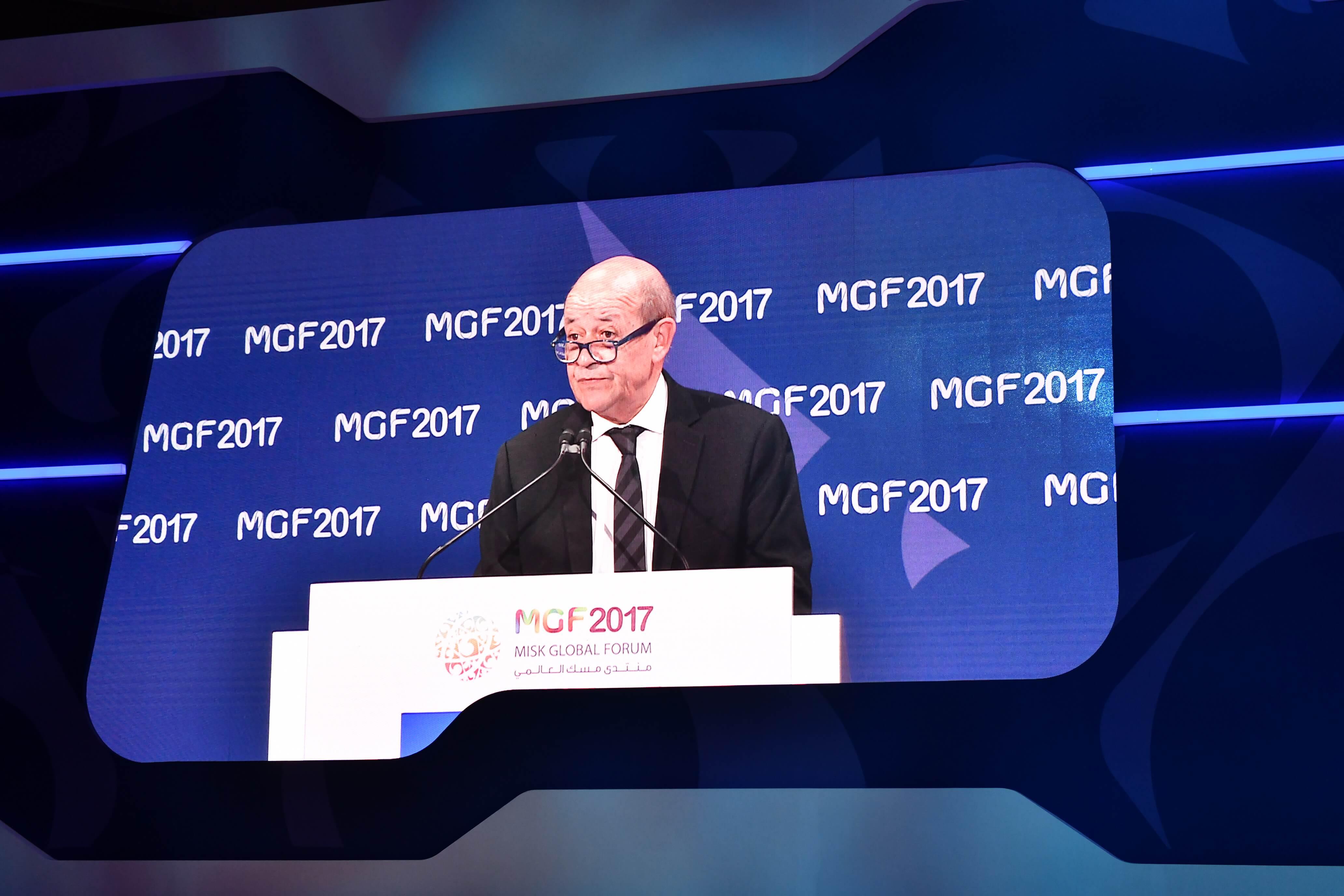 Jean-Yves le Drian, ministre français des Affaires étrangères, au MiSK Global Forum