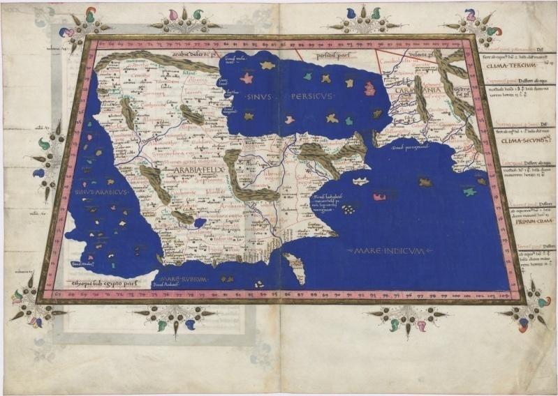 Ancienne carte de la péninsule arabique.